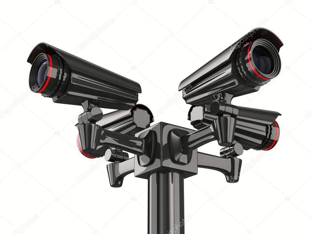 Four security camera on white background. Isolated 3D image — Stock Photo #5481930