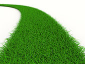 Road from grass on white. Isolated 3D image — Stock Photo