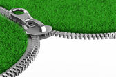 Zipper with grass on white background. Isolated 3D image — Stock Photo