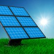 Solar battery on grass. Isolated 3d image — Foto de Stock