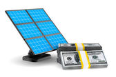 Solar battery and cash on white background. Isolated 3d image — Stock Photo