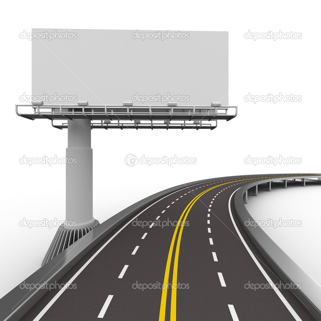 Asphalted road with billboard. Isolated 3D image — Stok fotoğraf #5754076