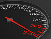 Speedometer on black background. 3D image — Stock Photo