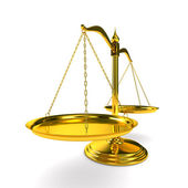 Scales justice on white background. Isolated 3D image — Stockfoto