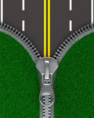 Zipper with grass and road. Isolated 3D image — Stock Photo