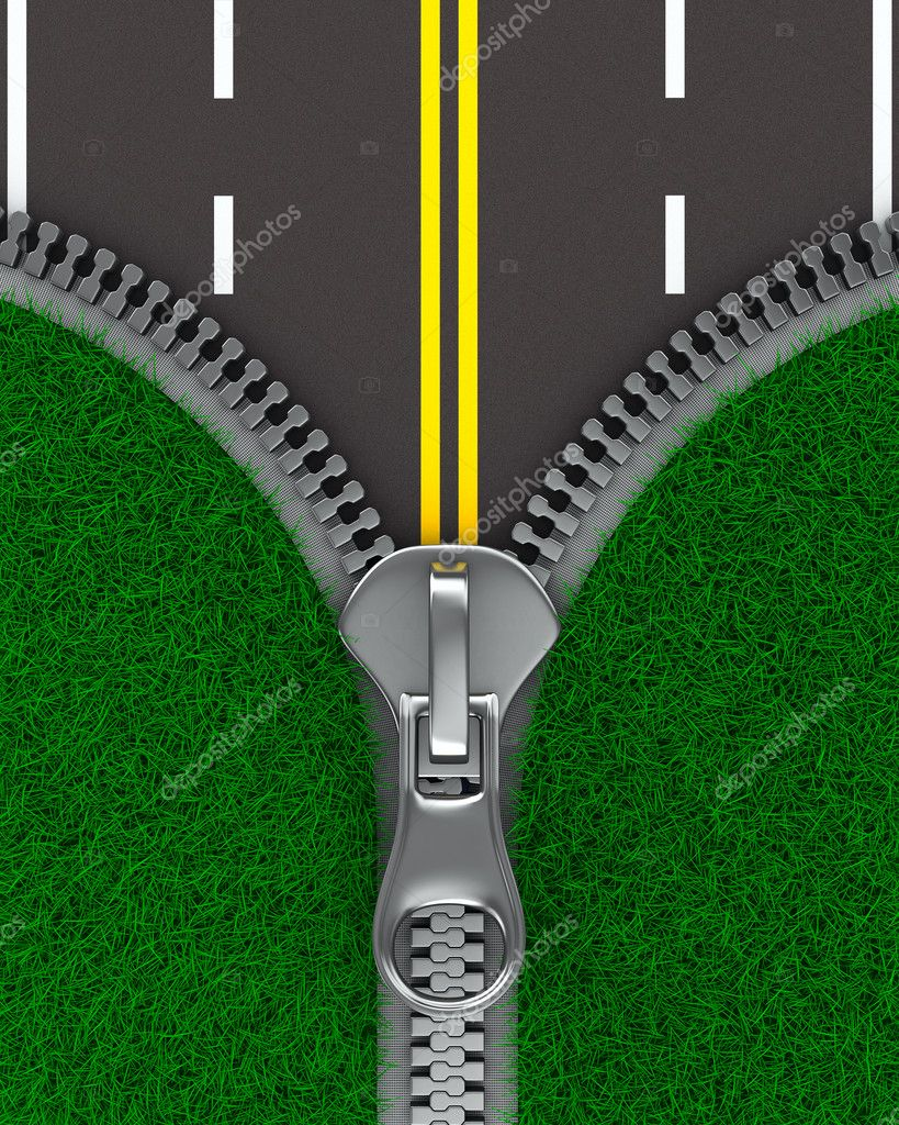 Zipper with grass and road. Isolated 3D image  Stock Photo #5901810