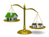 House and money on scales. Isolated 3D image — Stock Photo