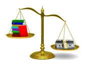 Libros y dinero en escalas. imagen 3d aislada — Foto de Stock