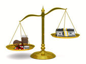 Medicines and money on scales. Isolated 3D image — Stock Photo