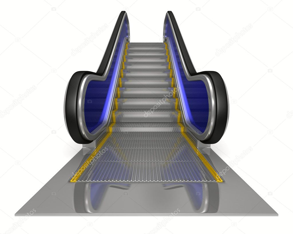 Escalator on white background. Isolated 3D image — Stock Photo #6462825