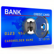 Credit card with key. Isolated 3D image — Stock Photo