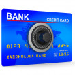 Credit card with key. Isolated 3D image - Stock Photo