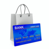 Credit card with shopping bag. Isolated 3D image — Stock Photo