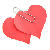 Two paper red hearts — Stock Photo