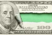 Torn hundred dollar — Stock Photo