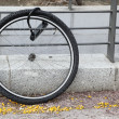 Wheel of stolen bicycle - Stock Photo