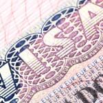 Macro shot of Schengen visa — Stock Photo