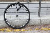 Wheel of stolen bicycle — Stock Photo