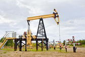 Pump jack and oil well. — Stock Photo