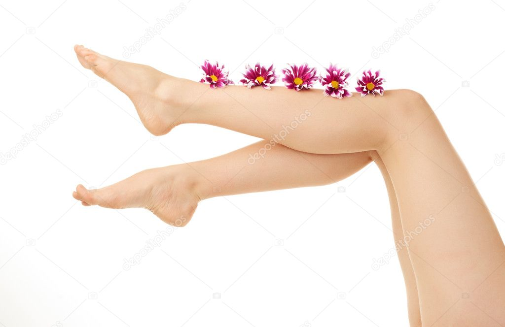 Woman leg over white background — Stock Photo #5758933