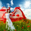 Beauty woman in poppy field with tissue — Stock Photo