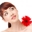 Beauty woman with flower — Stock Photo #5805246