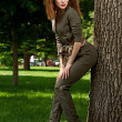 Beauty woman in overalls - Foto de Stock
