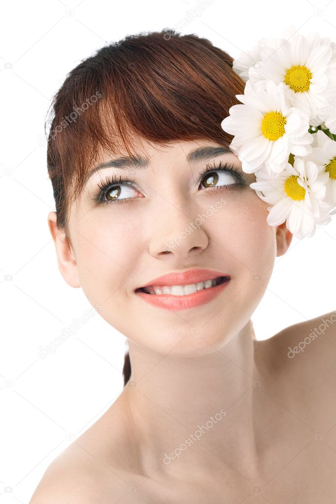 Beauty woman with flower over white background — Stock Photo #5805262