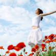 Beauty woman in poppy field - Stock Photo