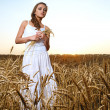 Woman in wheat field - Stock Photo