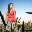 Stock Photo: Woman in wheat field
