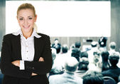 Woman over conference hall — Stock Photo