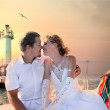 Stock Photo: Bride and groom on yacht