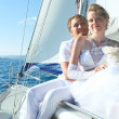 Bride and groom on a yacht - Foto Stock