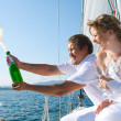 Bride and groom on a yacht — Stockfoto