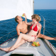 Man and woman on a yacht - Foto Stock