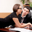 Young man and woman working together in office — Stock Photo #5463248