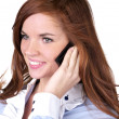 Portrait of beautiful woman talking phone — Stock Photo