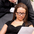 Young man and woman working together in office — Stock Photo #5472408