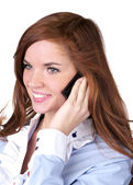 Portrait of beautiful woman talking phone — Stock Photo