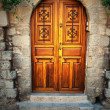 Ancient door in Rhodes island — Stock Photo