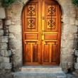 Ancient door in Rhodes island - Stock Photo