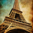 Vintage postcard with Eiffel tower — Stock Photo