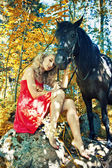 Beauty and horse — Stock Photo