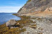 Granitowe skały na brzegu morza white — Zdjęcie stockowe