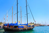 Bodrum castle and sailing boats — Stock Photo