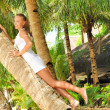 Woman on palm tree — Stock fotografie