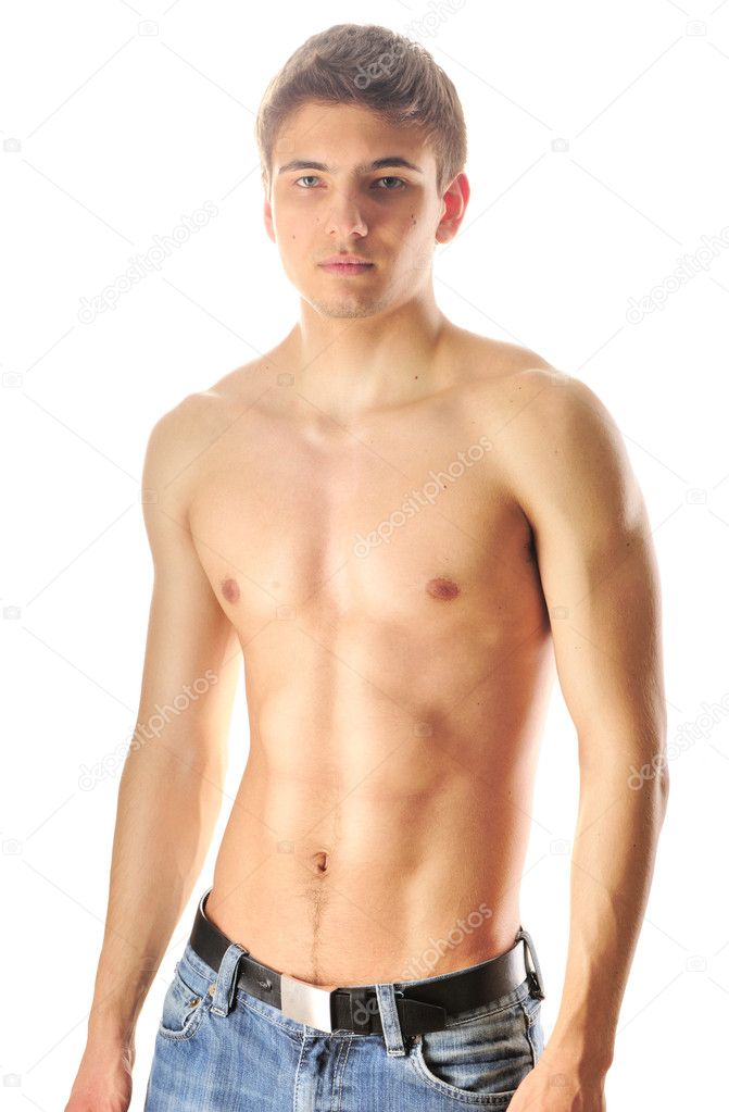 Man with muscular torso over white — Stock Photo #5598135