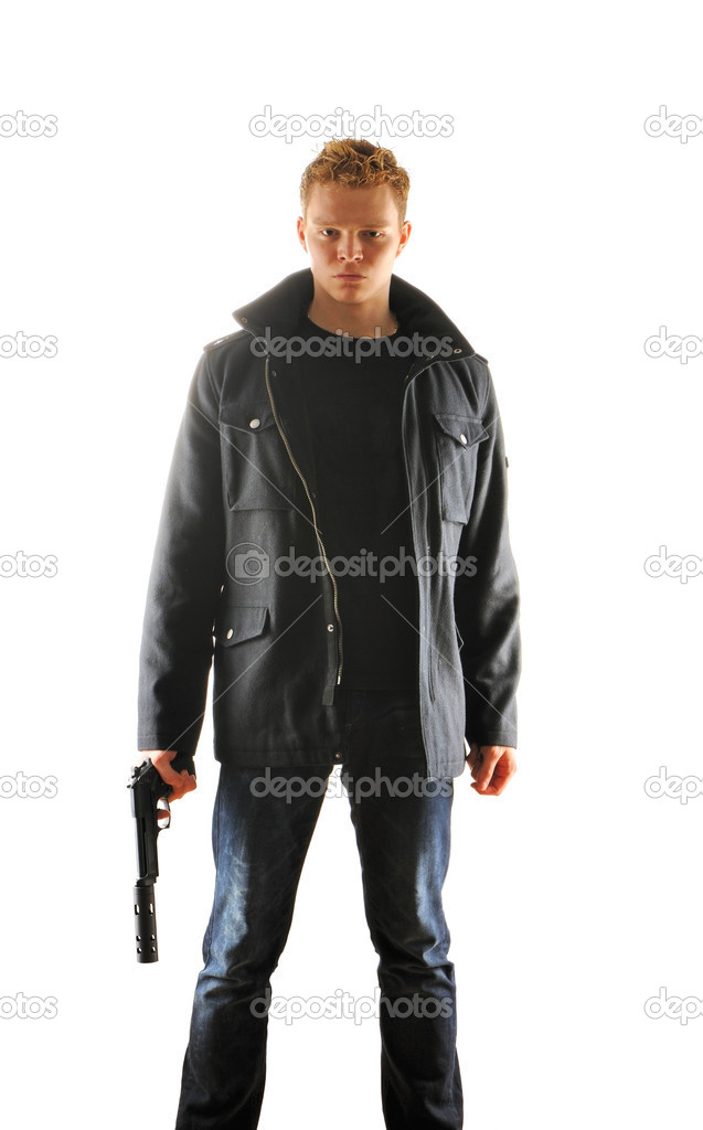 Man holding gun with silencer over white — Stock Photo #5598136