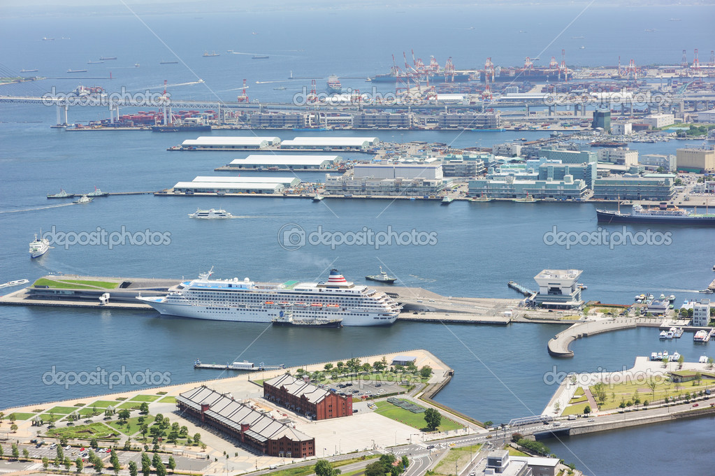 Yokohama harbour. No brand names or copyright objects.  Stock Photo #6639562